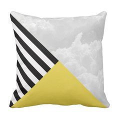 Dove Clouds Striped Statement Pillow
