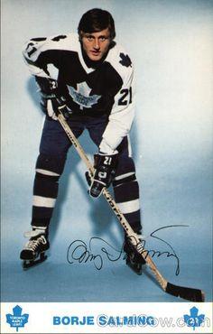 Borje Salming, Toronto Maple Leafs Hockey Games, Ice Hockey, Player Card, Tim Hortons, Sports Figures, Nfl Fans, National Hockey League, Toronto Maple Leafs, Sports Stars