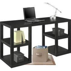 Mainstays Double Pedestal Parsons Desk Chic and trendy Ideal for offices Provides plenty of storage Shelves on each side Hollow core construction Lightweight and easy to move Dimensions: x x NOTE: Please allow weeks delivery due to popularity. Home Office Space, Home Office Desks, Home Office Furniture, Furniture Decor, Oakwood Furniture, Closet Office, Business Furniture, Office Spaces, Furniture Storage
