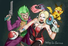 Harley Quinn and her happy crews by Clint Red Pokemon Mashup, Fan Art, Joker And Harley Quinn, Dc Comics, Film, Artwork, Anime, Fictional Characters, Squad