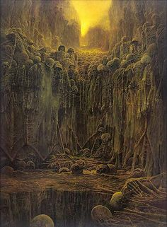 "homonculussensitif: """"Zdzisław Beksiński, Untitled, 1984, Oil on hardboard, 98 x 132 cm "" """