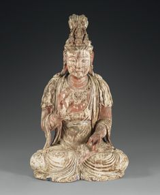 A CARVED WOOD FIGURE OF A BODHISATTVA, CHINA, LATE SONG DYNASTY/EARLY YUAN DYNASTY, 13TH/14TH CENTURY