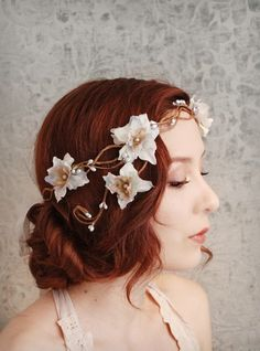 Bridal Hair Accessories For Beautiful Brides Goddess floral headpiece Diy Hairstyles, Wedding Hairstyles, Whimsical Hair, Circlet, Floral Crown, Floral Hair, Bridal Hair Accessories, Hair Jewelry, Hair Pieces