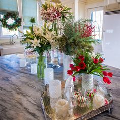 A pairing of red, white, and green is a perfect nod to the season's greetings and adds a unique and warm way to decorate.