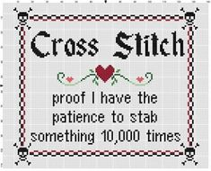 Cross stitching is patience, especially those big complicated patterns. Luckily for you, this is not a big or complicated pattern. Great craft room or office decor, or just plain fun to be vaguely threatening Modern cross stitch pattern is designed on 14 Funny Cross Stitch Patterns, Cross Stitch Borders, Cross Stitch Designs, Cross Stitching, Cross Patterns, Diy Embroidery, Cross Stitch Embroidery, Embroidery Patterns, Beaded Cross Stitch