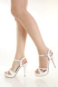 $23 White Faux Patent Leather Buckle Cross Strap Platform Heels