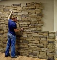 Faux Stone Sheets …great idea for a basement accent wall … Urestone sheets in different textures like flagstone, red brick, bark, & others … can be purchased from Home Depot ………. Basement House, Basement Bedrooms, Basement Apartment, Basement Stairway, Basement Bathroom, Basement Office, Basement Ceilings, Basement Furniture, Basement Laundry