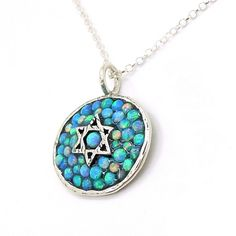 Silver star of david pendant with mosaic opal stones