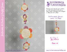 Invitacion de tipo colgante con diseño de flores