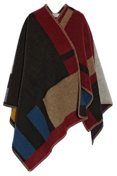 Classic Plaid Color-Blocked Boho Cape Scarf