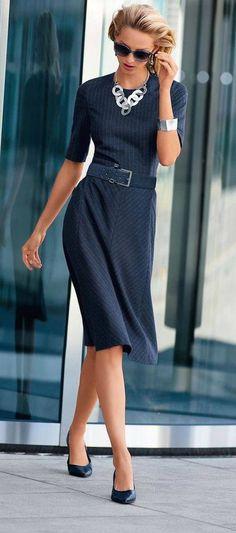 Navy Dress Office Style