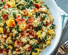 Bacon Egg and Spinach Fried Rice