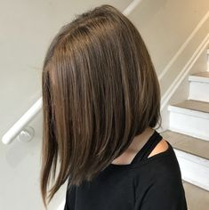 Centre-Parted Angled Long Bob - kids bob haircut Bob Haircut For Girls, Little Girl Haircuts, Bob Hairstyles For Fine Hair, Easy Hairstyles, Female Hairstyles, Haircuts For Girls, Teenage Hairstyles, Beautiful Hairstyles, Black Hairstyles