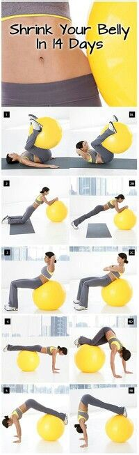 I love ball exercises. Shrink Your Belly In 14 Days Routine will firm and flatten you from all angles in just 2 weeks. Amp up results using a combination of ball exercises with high-energy cardio and simple calorie-cutting tips. In 2 weeks, you could lose Fitness Workouts, Fitness Motivation, Sport Fitness, Fitness Diet, At Home Workouts, Health Fitness, Yoga Fitness, Exercise Motivation, Daily Workouts