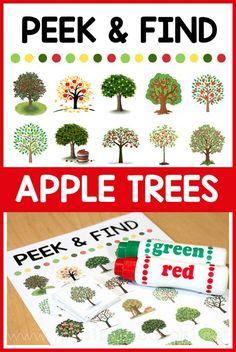 Peek and Find Apple Trees Outdoor Activities For Kids, Fun Activities, Early Learning, Kids Learning, Preschool At Home, Preschool Kindergarten, Preschool Ideas, Apple Theme, Mini Apple