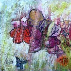 #schilderij 'Together we are one!' van Ans duin is te koop via #KUNSTmarktplaats.nl. #kunst #art #vlinders #bloemen #abstract
