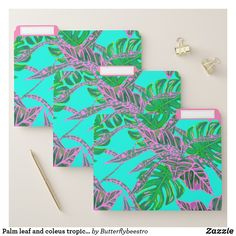 Palm leaf and coleus tropical ice file folder Palm leaf and coleus tropical ice file folder Tropical Design, Fire And Ice, File Folder, Bathroom Sets, Coral Pink, Getting Organized, Palm, Leaves, Prints