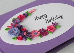 Handmade quilled birthday greeting card by PaperDaisyCardDesign, £5.00