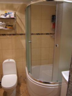 Small shower/tub. Interesting idea for a 3/4 bath.