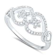 Sterling Silver Simulated Diamond Opposing Hearts Ring