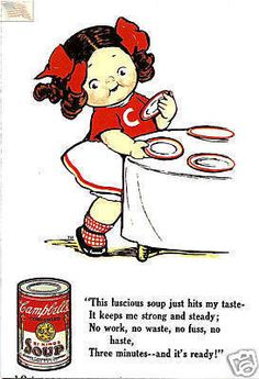 Campbells Soup--Postcard--Kid setting table--Poem Like, share and try! :)