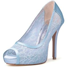 Something Blue Wedding Heels Blue Lace Bridal Peep Toe Heels Powder... ($90) ❤ liked on Polyvore featuring shoes, pumps, light blue, women's shoes, peep-toe pumps, evening bridal shoes, high heel platform pumps, blue pumps and lace pumps
