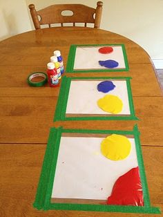 Great no mess activity! Place a blank paper on the table. Fill a ziploc bag with some paint and get all the air out. Then tape the edges to the table to hold it in place and avoid leaks then let the kids finger paint!