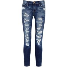 Current/Elliott The Stiletto Blue Distressed Skinny Jeans (€130) ❤ liked on Polyvore featuring jeans, pants, bottoms, pantalones, denim skinny jeans, skinny fit jeans, faded blue jeans, ripped skinny jeans and blue ripped skinny jeans