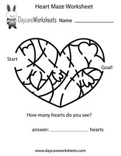 Preschoolers can work on their critical thinking skills and have fun by solving this heart maze in this free activity worksheet.