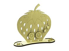 Wooden Strawberry jewelry holder - wood organizer - engraved - lasercut - fruit jewelry stand