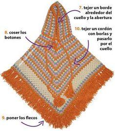 Paso a paso: poncho granny stripes con capucha tejido a crochet English subtitles: crochet granny stripes hooded poncho