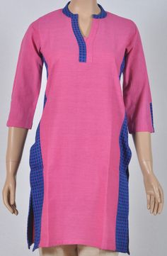 Plain pink high collar cotton Kurta with deep blue jacquard ends