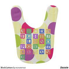 Block Letters Bib #BlockLetters #Letters #Alphabet #Zazzle #Fashion #Baby #Infant #Bib
