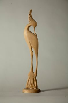 Wood Art Sculpture  Hand Carved Wading Bird by by AllegroDecor, $85.00