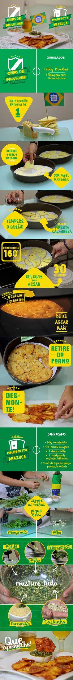 Chips de provolone & Molho pesto brazuca // Série #MenuNaCopa - Copa 2014