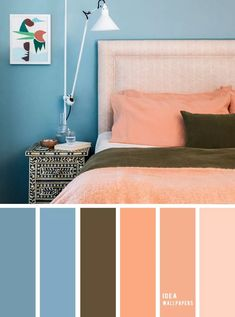 10 Best Color Schemes for Your Bedroom { Blue + Peach } Teal and peach color bedroom, grey color palette, colour palette, color , color palette Peach Colour Combinations, Colour Combinations Interior, Peach Color Schemes, Peach Color Palettes, Best Color Schemes, Peach Colored Rooms, Peach Rooms, Peach Bedroom, Blue Bedroom Walls