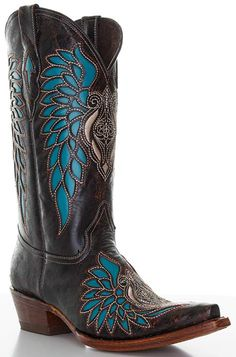 Pecos Bill Women's Cowboy Boots with Turquoise Inlay - Brown