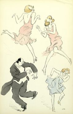 DANCING THE CHARLESTON - great loose jazz illustrations by Georges Goursat (1863–1934), known as Sem, a French caricaturist famous during the Belle Époque.