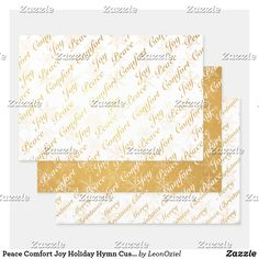 Shop Peace Comfort Joy Personalize Words Customized Foil Wrapping Paper Sheets created by LeonOziel. Personalize it with photos & text or purchase as is! Foil Paper, Comfort And Joy, Creative Gifts, Invitation Cards, Joy Holiday, Craft Projects, Wraps, Gift Wrapping, Peace