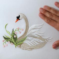 Lily of the Valley Swan ( Large) by Sonia Showalter Designs & Measures W: 6.5 H: 5 inches which is a great size to frame...