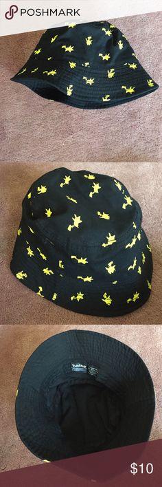 6d66019e8b1 Hot Topic Pokemon Pikachu Bucket Hat Worn once!! Super cute Pikachu pattern  on a
