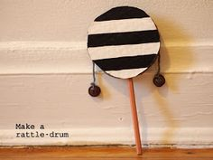 make a cardboard rattle drum musical toy for kids