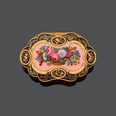 EMAIL-GOLD-TABATIÈRE FÜR DEN ORIENTALISCHEN MARKT, Genf, um 1840.Gelbgold, 99g.Dekorative Tabak-Do