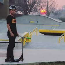 Tanner Fox with his custom scooter