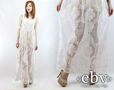 Robe dentelle blanche hippie