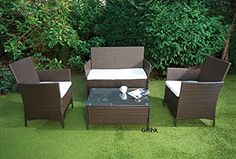 RATTAN GARDEN FURNITURE SET SOFA TABLE CHAIRS OUTDOOR PATIO CONSERVATORY