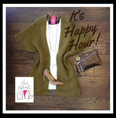 This look will take you straight from the office to dinner and drinks. Did someone say Happy Hour?!?! 🍸 Knit Kimono (Olive ) $85 Denim Tunic (White) $150  Chan Luu Bead Seed Necklace (White Mix) $45  Sam Edelman Dea (Camel Leather) $110  Hammitt Nash (Pluto) $225  ☎️ (210) 824-9988
