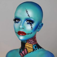 We're simply meant to be 🖤 had to do my own (bald) take on Sally this year 💀💙 should I do Jack next? ✨ used colour white… Makeup 101, Glam Makeup, Pretty Makeup, Simple Makeup, Makeup Hacks, Halloween Makeup Witch, Scary Halloween, Halloween Make Up, Halloween Ideas