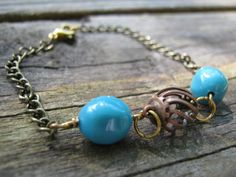 Antique copper and turquoise bracelet on antique by MyColorLove, $15.00