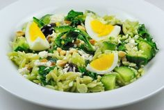 Orzo Salad with Wilted Arugula, Cucumber and Kalamata Olives
